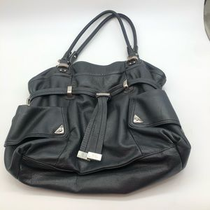 B.Makowsky edgy black leather hobo silver accent
